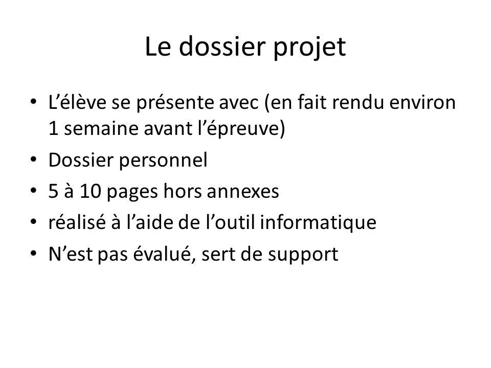 Le dossier projet L'élève se présente avec (en fait rendu environ 1 semaine avant l'épreuve) Dossier personnel.
