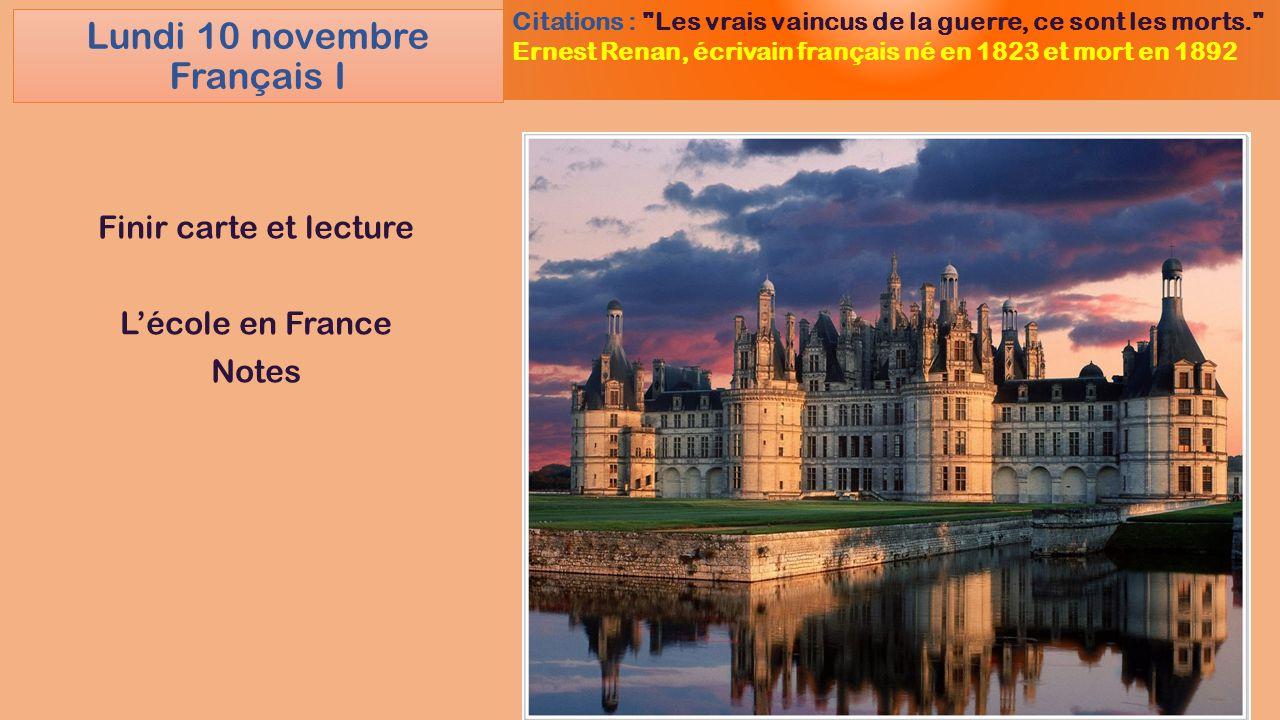 Lundi 10 novembre Français I