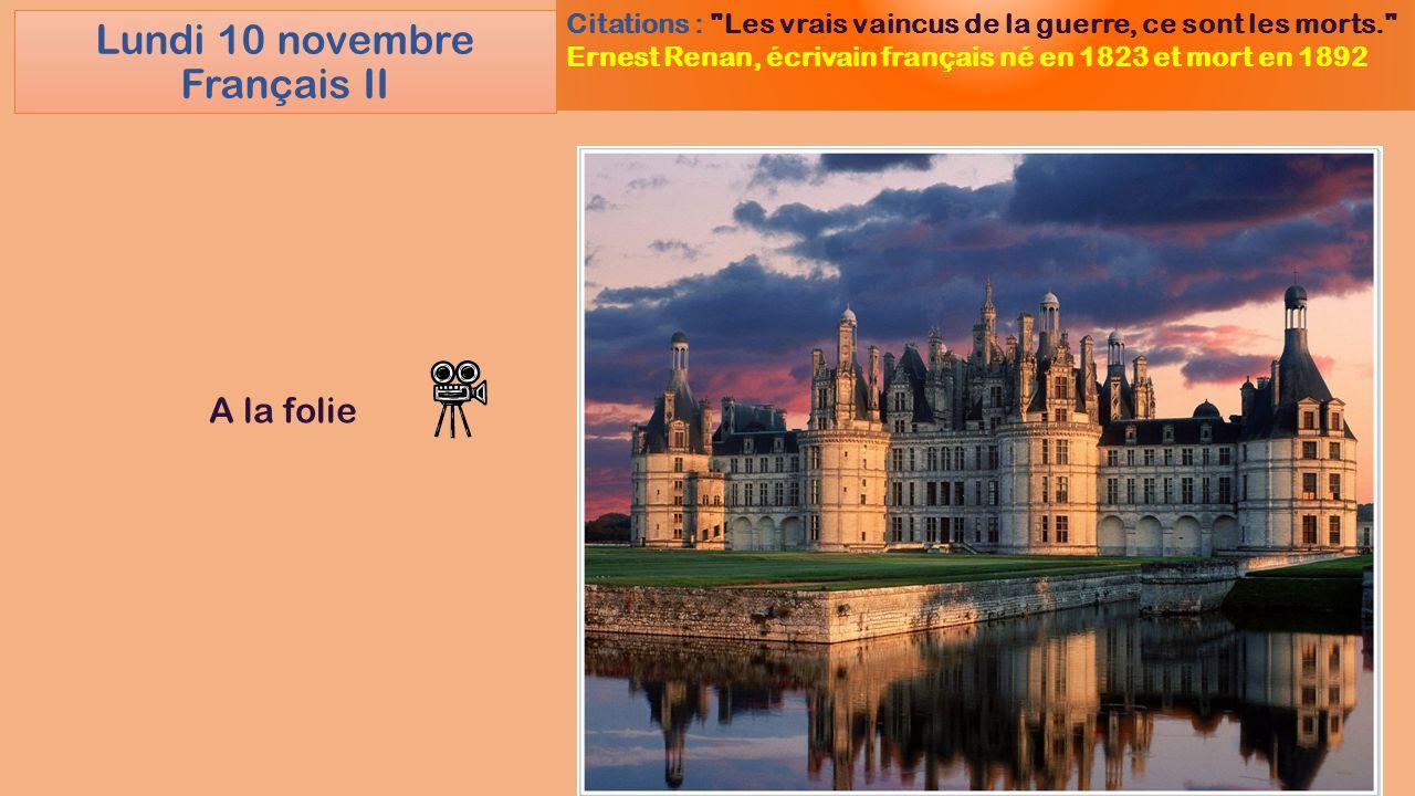 Lundi 10 novembre Français II