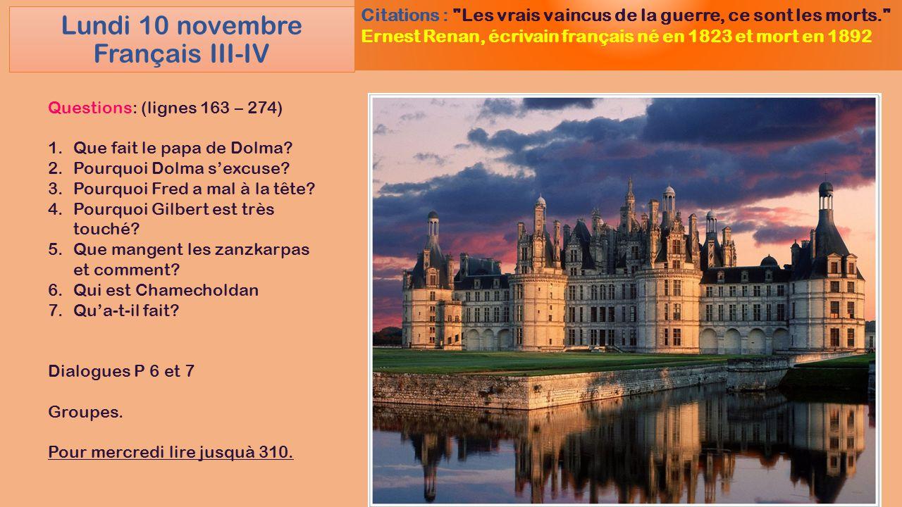 Lundi 10 novembre Français III-IV