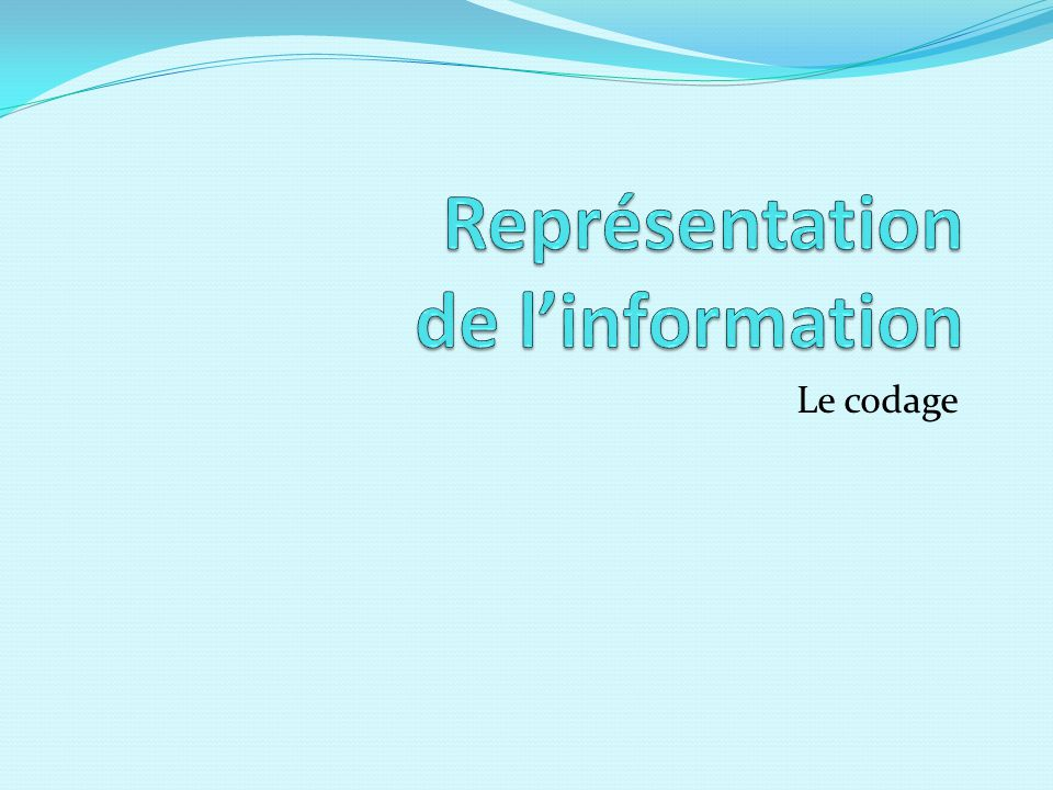 Représentation de l'information