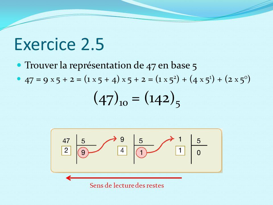 Exercice 2.5 (47)10 = (142)5 Trouver la représentation de 47 en base 5