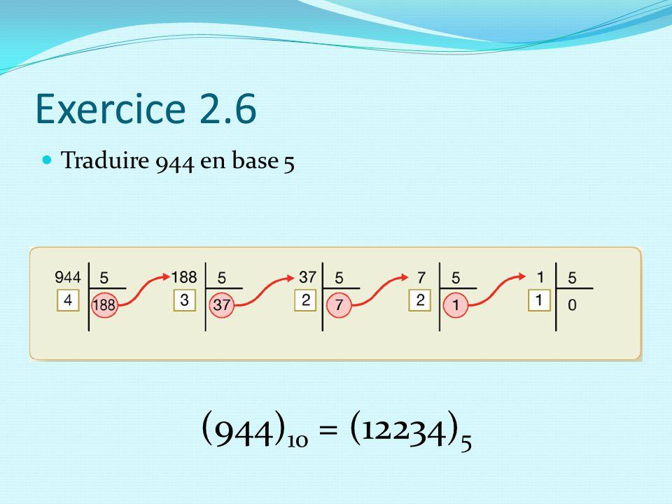 Exercice 2.6 Traduire 944 en base 5 (944)10 = (12234)5