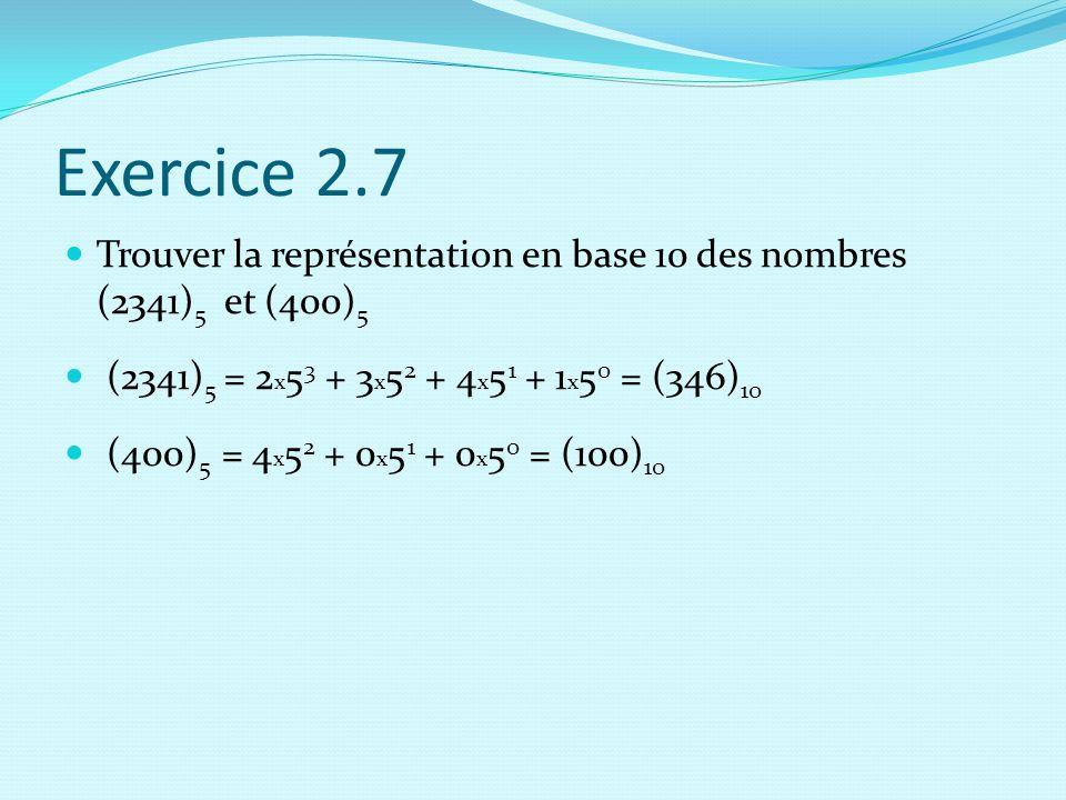 Exercice 2.7 Trouver la représentation en base 10 des nombres (2341)5 et (400)5. (2341)5 = 2x53 + 3x52 + 4x51 + 1x50 = (346)10.