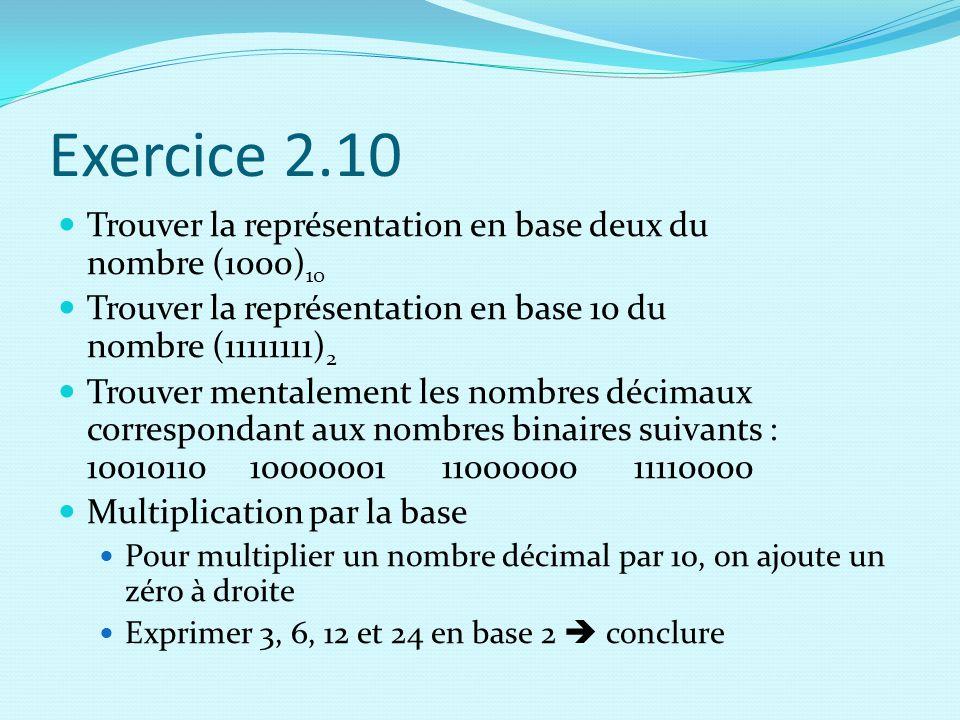 Exercice 2.10 Trouver la représentation en base deux du nombre (1000)10. Trouver la représentation en base 10 du nombre (11111111)2.