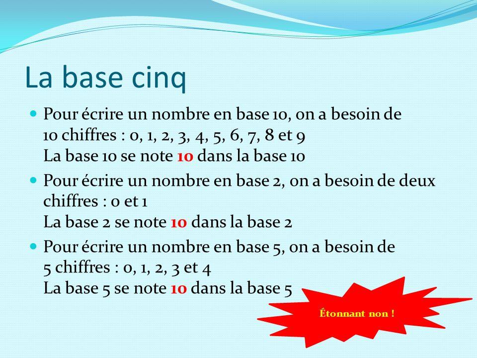 La base cinq Pour écrire un nombre en base 10, on a besoin de 10 chiffres : 0, 1, 2, 3, 4, 5, 6, 7, 8 et 9 La base 10 se note 10 dans la base 10.