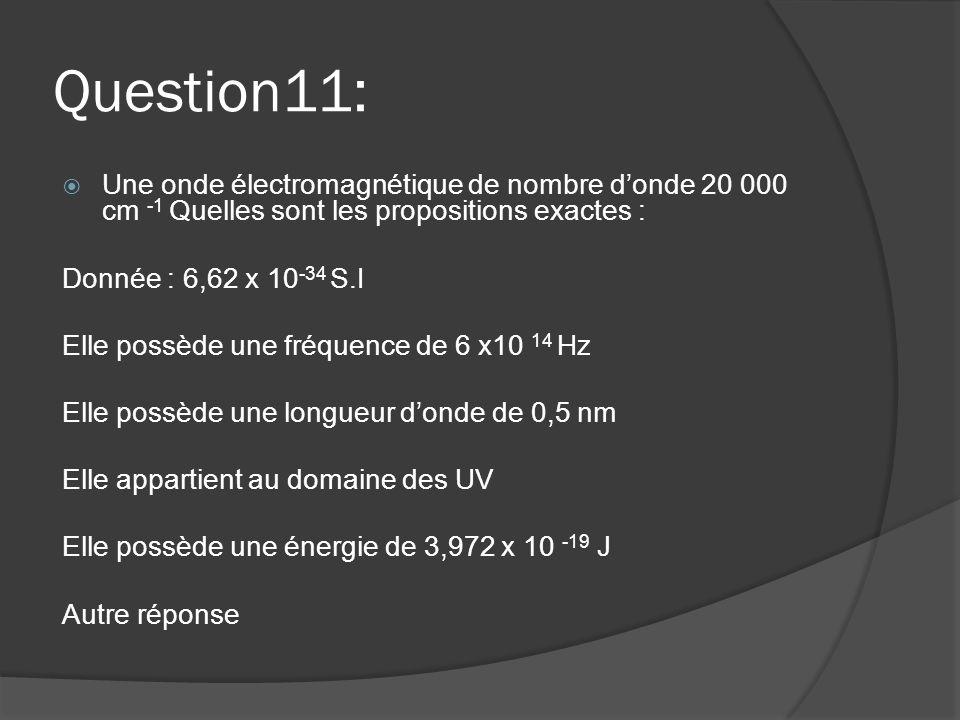 Question11: Une onde électromagnétique de nombre d'onde 20 000 cm -1 Quelles sont les propositions exactes :