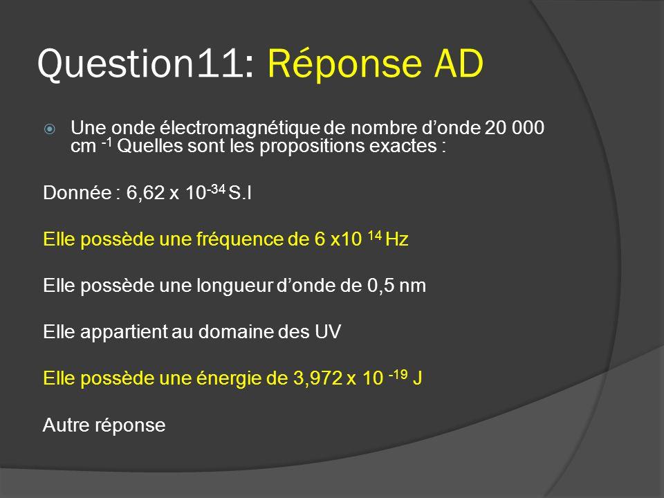 Question11: Réponse AD Une onde électromagnétique de nombre d'onde 20 000 cm -1 Quelles sont les propositions exactes :