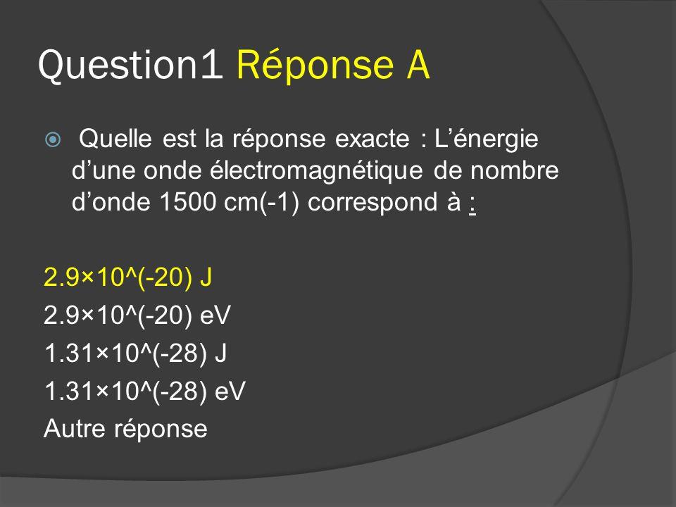 Question1 Réponse A Quelle est la réponse exacte : L'énergie d'une onde électromagnétique de nombre d'onde 1500 cm(-1) correspond à :