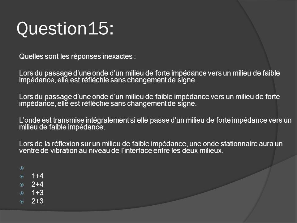 Question15: Quelles sont les réponses inexactes :