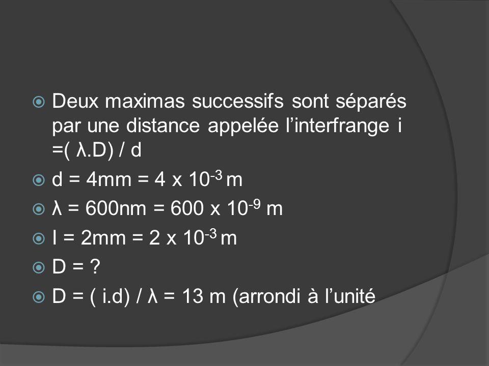 Deux maximas successifs sont séparés par une distance appelée l'interfrange i =( λ.D) / d