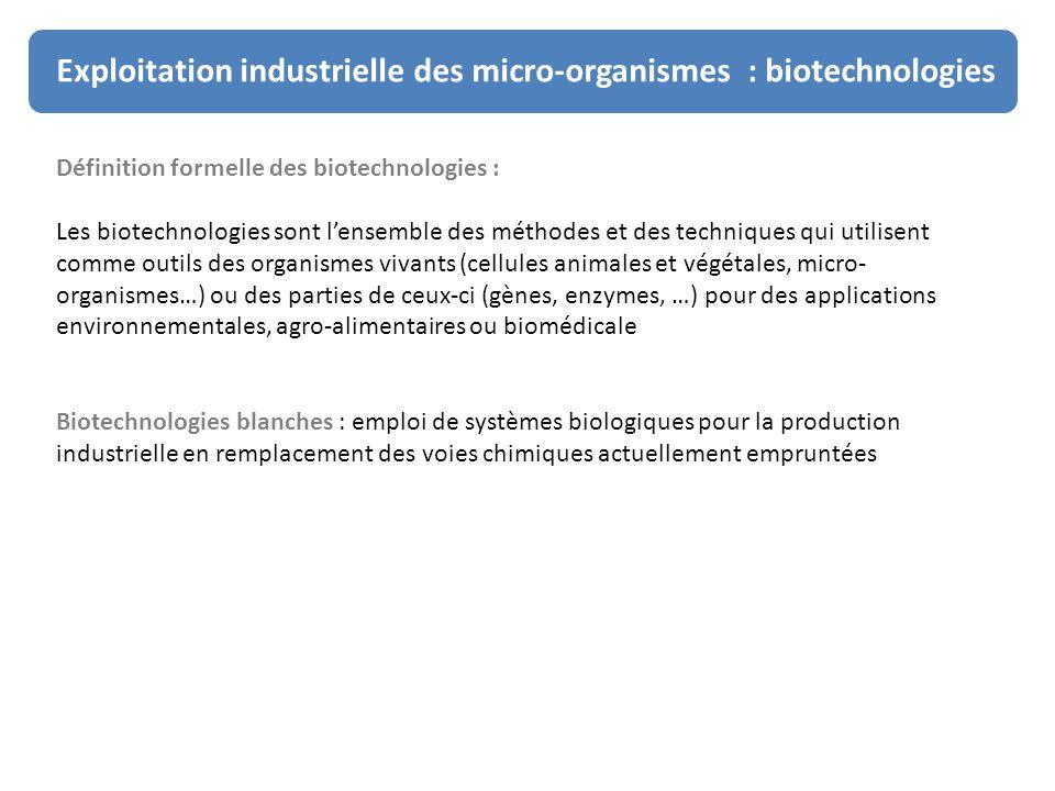 Exploitation industrielle des micro-organismes : biotechnologies