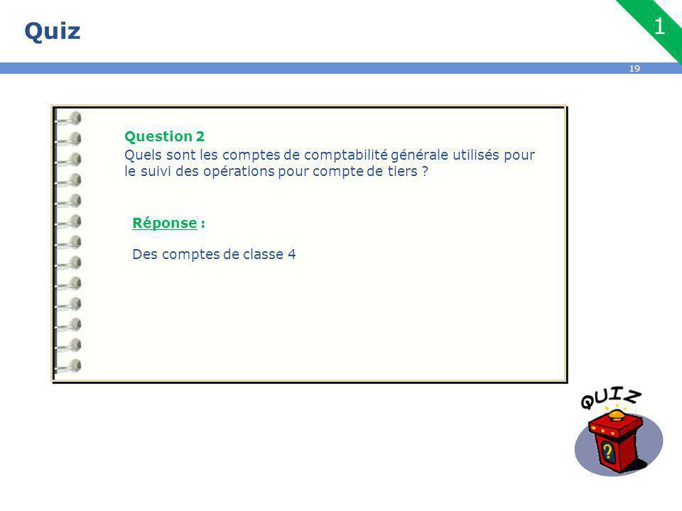 Quiz Question 2. Quels sont les comptes de comptabilité générale utilisés pour le suivi des opérations pour compte de tiers