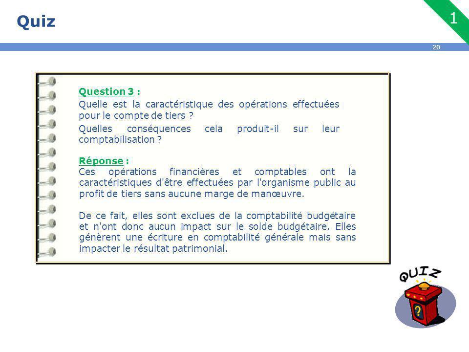 Quiz Question 3 : Quelle est la caractéristique des opérations effectuées pour le compte de tiers