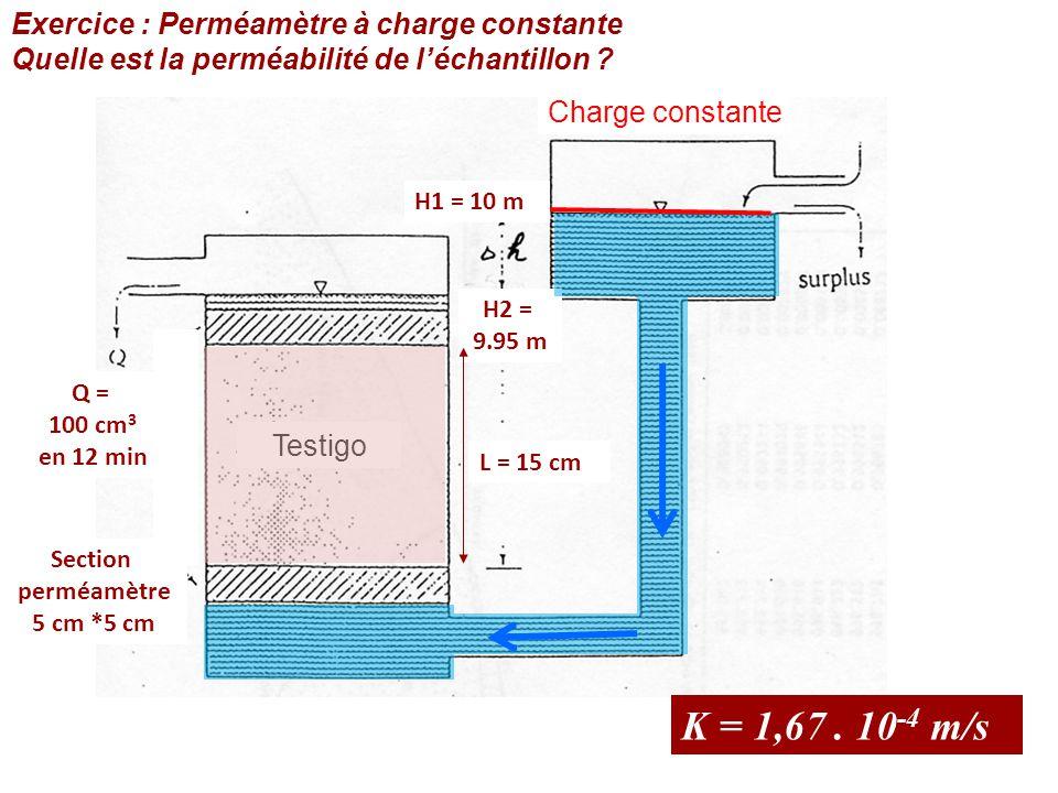 K = 1,67 . 10-4 m/s Exercice : Perméamètre à charge constante