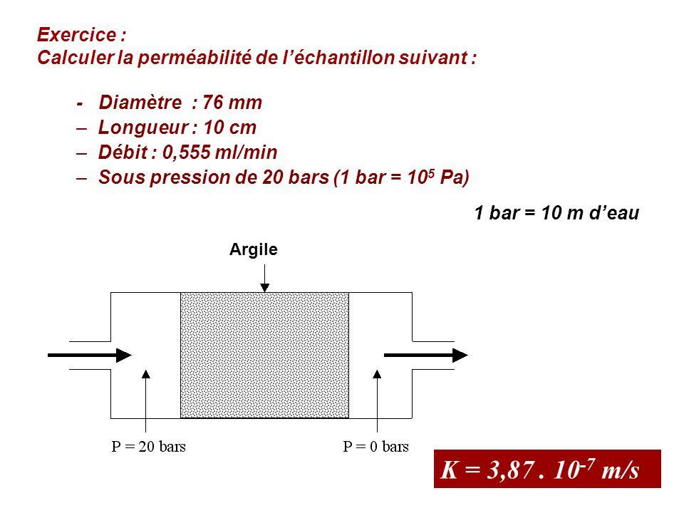 Exercice : Calculer la perméabilité de l'échantillon suivant : - Diamètre : 76 mm. Longueur : 10 cm.