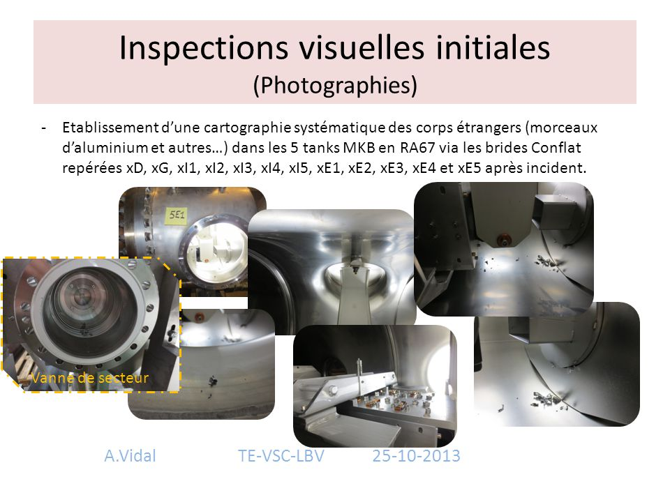 Inspections visuelles initiales (Photographies)