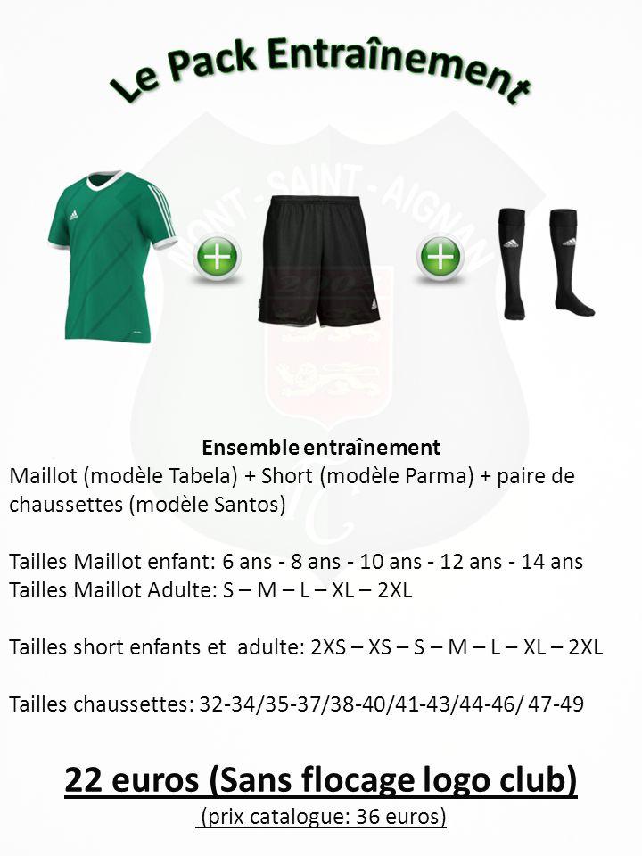 Ensemble entraînement 22 euros (Sans flocage logo club)