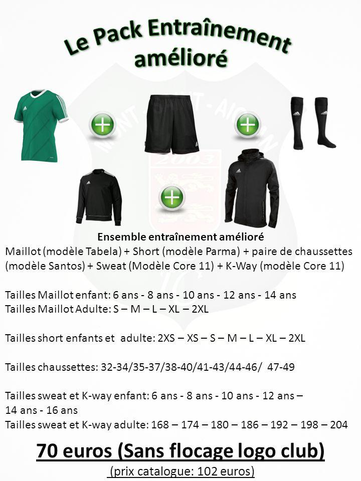 Ensemble entraînement amélioré 70 euros (Sans flocage logo club)