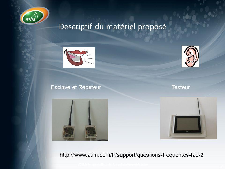 Descriptif du matériel proposé