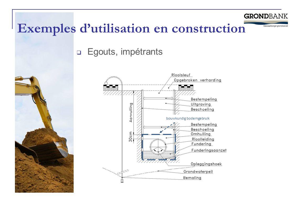 Exemples d'utilisation en construction