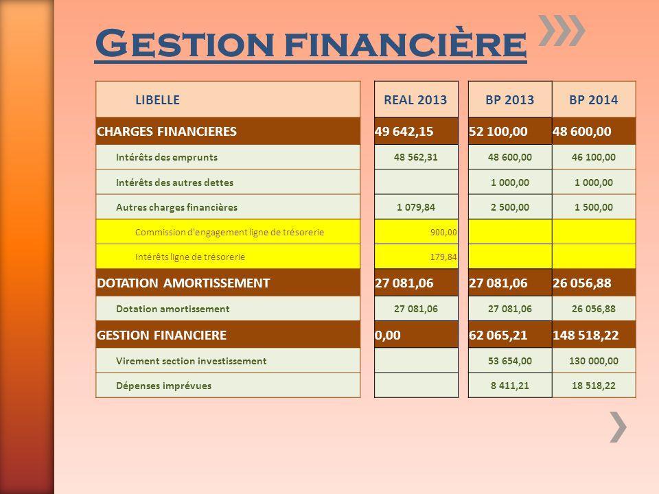 Gestion financière LIBELLE REAL 2013 BP 2013 BP 2014