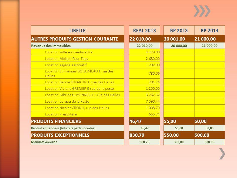 AUTRES PRODUITS GESTION COURANTE 22 010,00 20 001,00 21 000,00