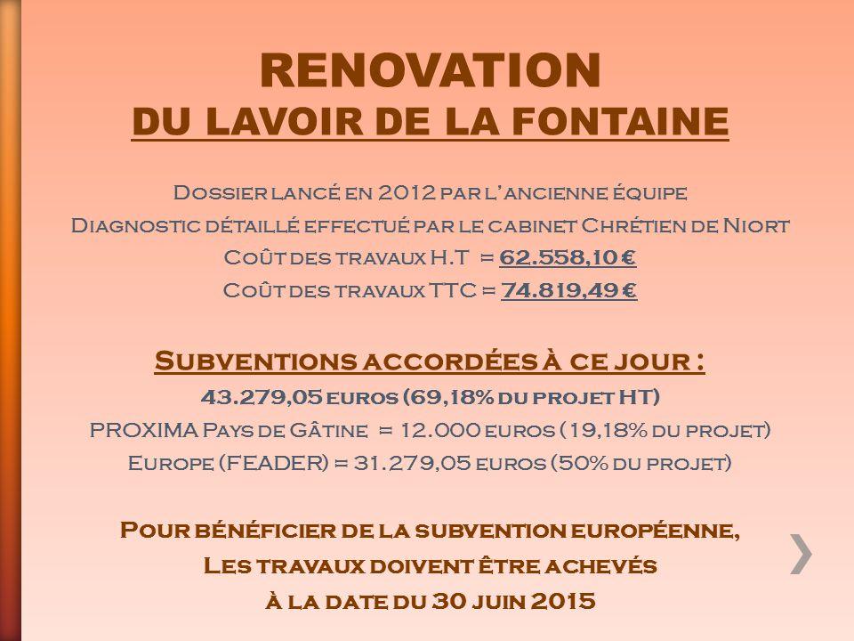 RENOVATION DU LAVOIR DE LA FONTAINE Subventions accordées à ce jour :