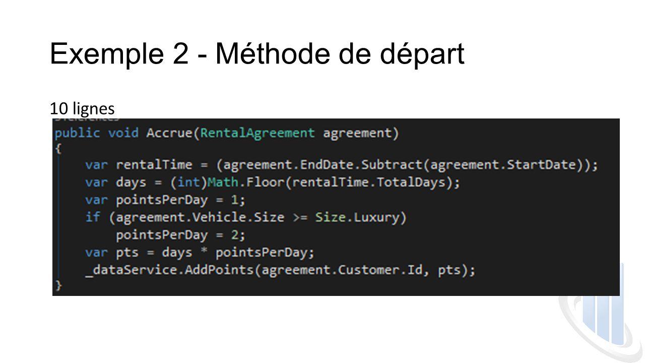 Exemple 2 - Méthode de départ
