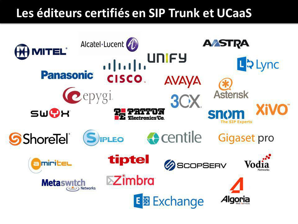 Les éditeurs certifiés en SIP Trunk et UCaaS