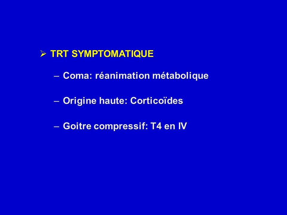 TRT SYMPTOMATIQUE Coma: réanimation métabolique. Origine haute: Corticoïdes.