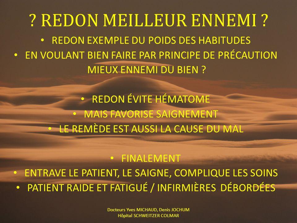 REDON MEILLEUR ENNEMI REDON EXEMPLE DU POIDS DES HABITUDES