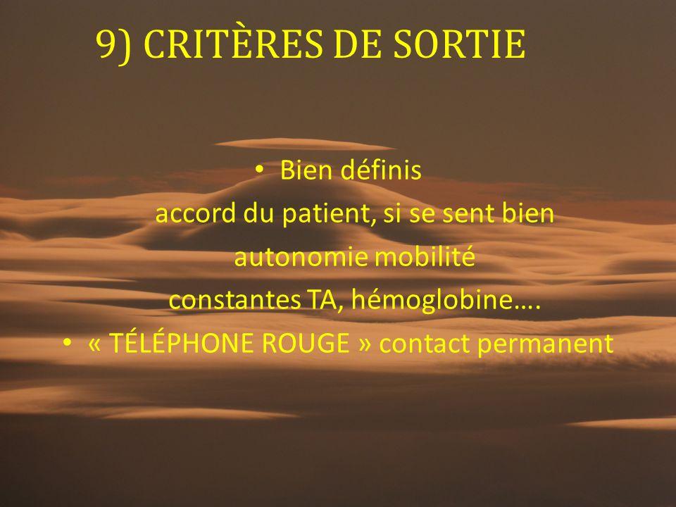 9) CRITÈRES DE SORTIE Bien définis accord du patient, si se sent bien