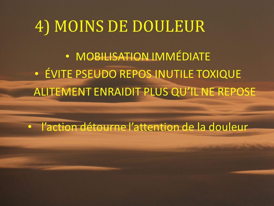 4) MOINS DE DOULEUR MOBILISATION IMMÉDIATE