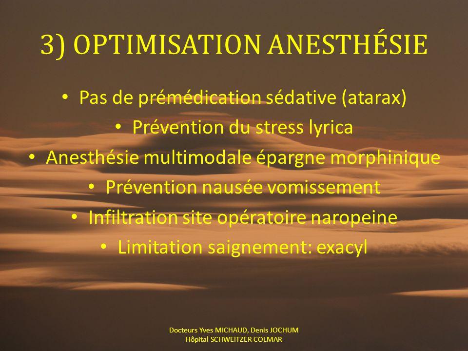 3) OPTIMISATION ANESTHÉSIE