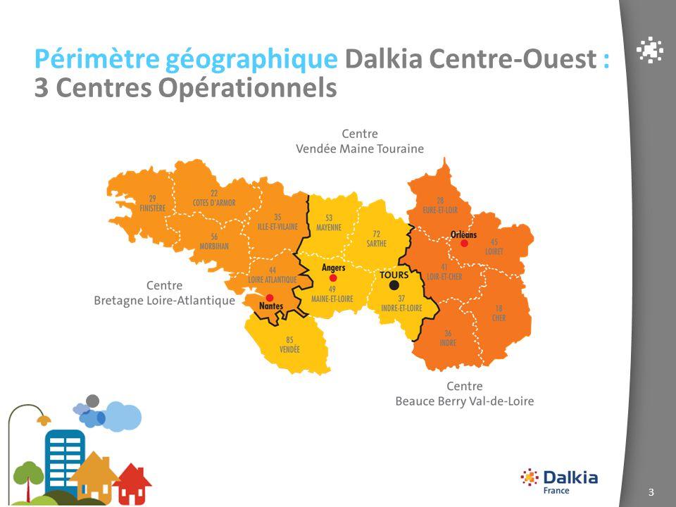 Périmètre géographique Dalkia Centre-Ouest : 3 Centres Opérationnels