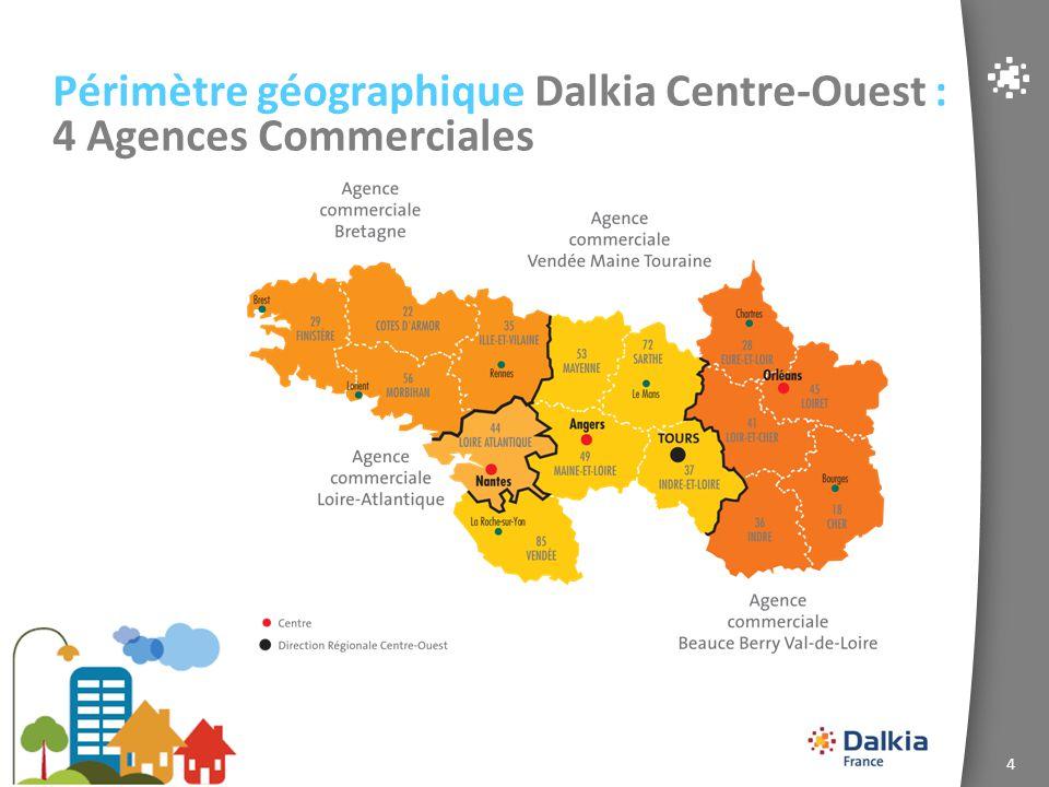 Périmètre géographique Dalkia Centre-Ouest : 4 Agences Commerciales