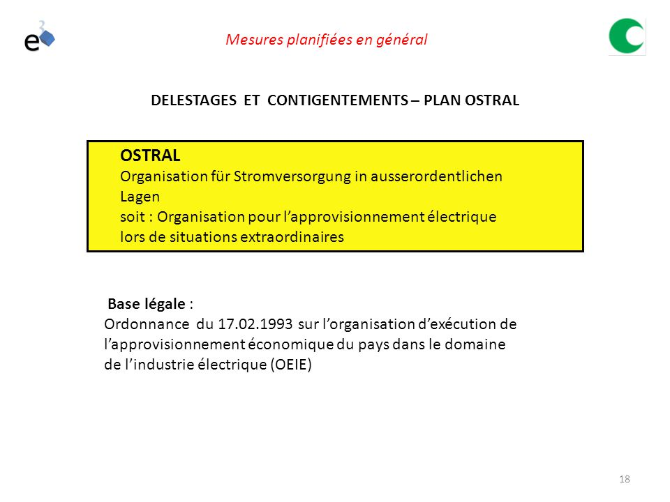 DELESTAGES ET CONTIGENTEMENTS – PLAN OSTRAL
