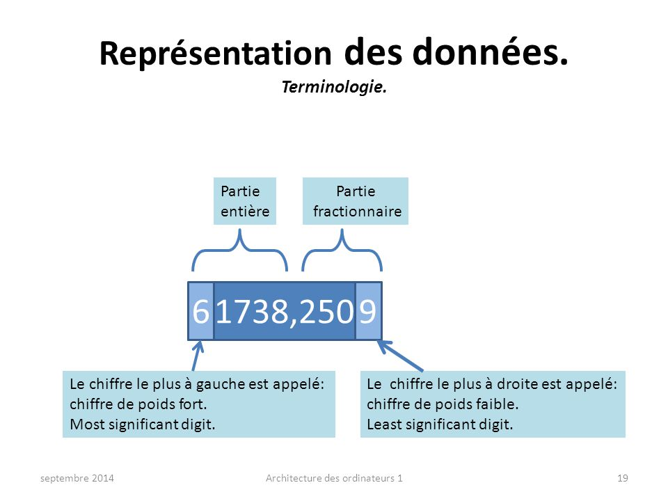 Représentation des données. Terminologie.