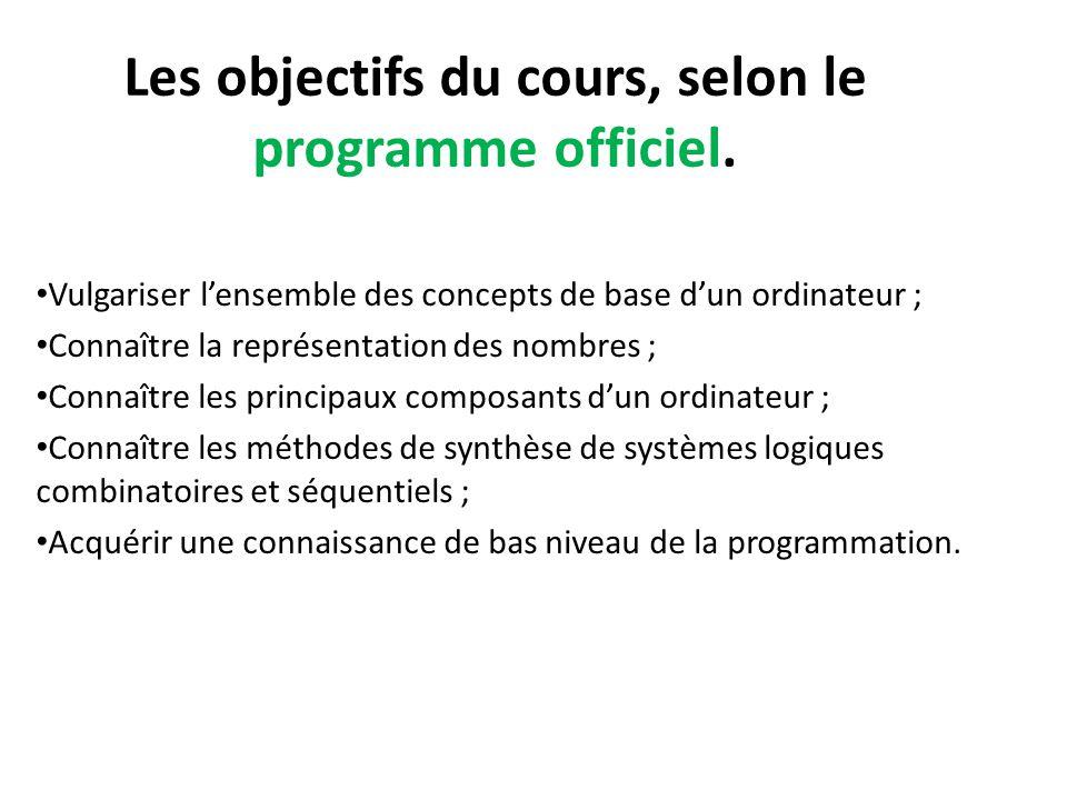 Les objectifs du cours, selon le programme officiel.