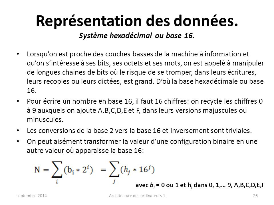 Représentation des données. Système hexadécimal ou base 16.