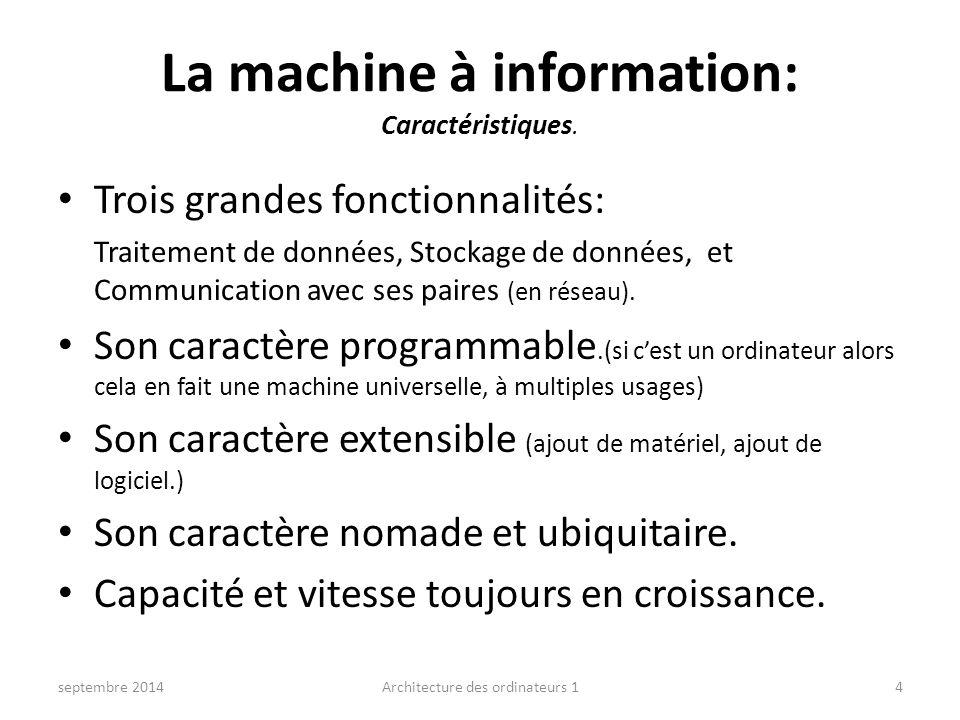 La machine à information: Caractéristiques.