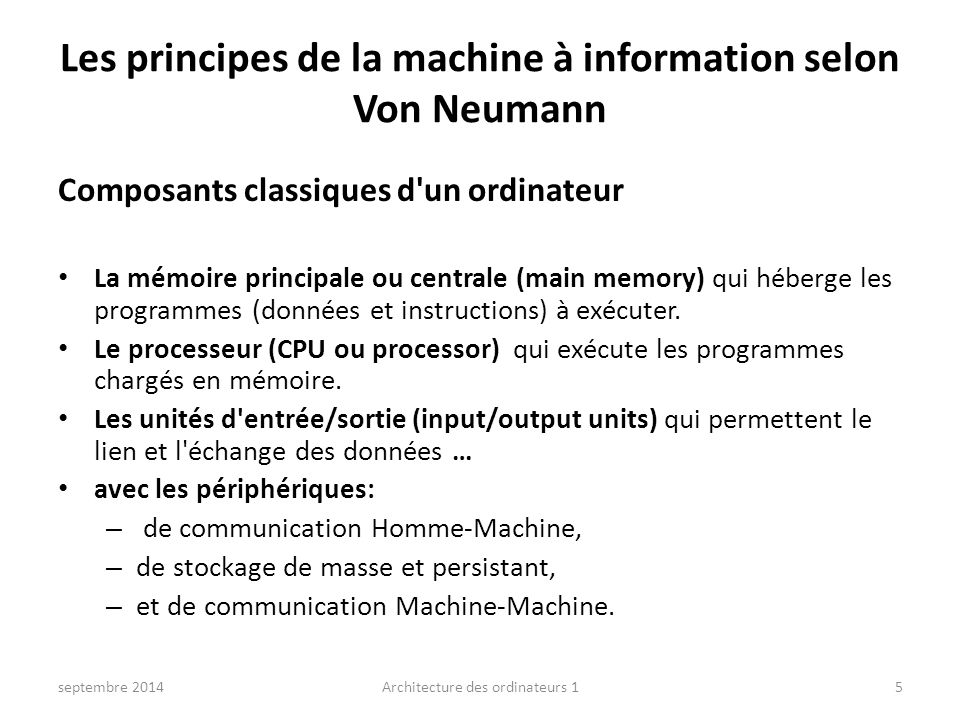 Les principes de la machine à information selon Von Neumann
