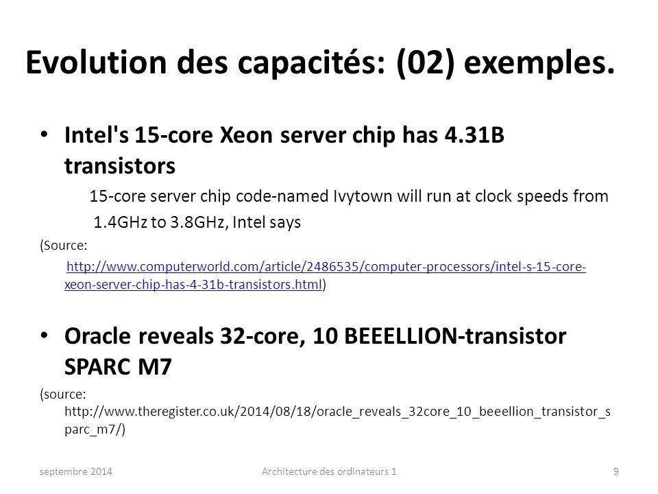 Evolution des capacités: (02) exemples.