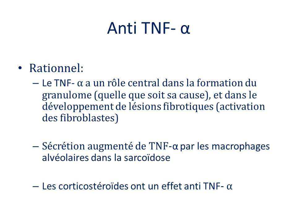 Anti TNF- α Rationnel: