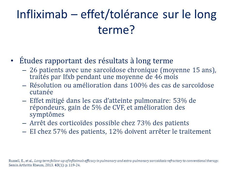 Infliximab – effet/tolérance sur le long terme