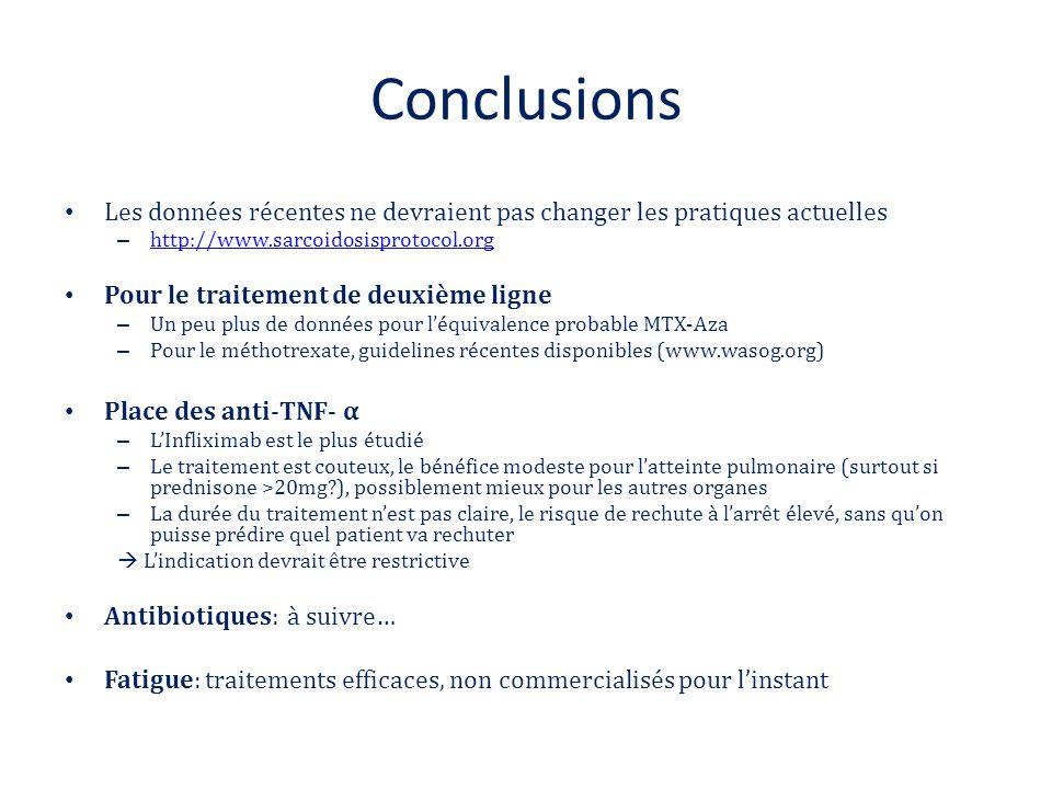 Conclusions Les données récentes ne devraient pas changer les pratiques actuelles. http://www.sarcoidosisprotocol.org.