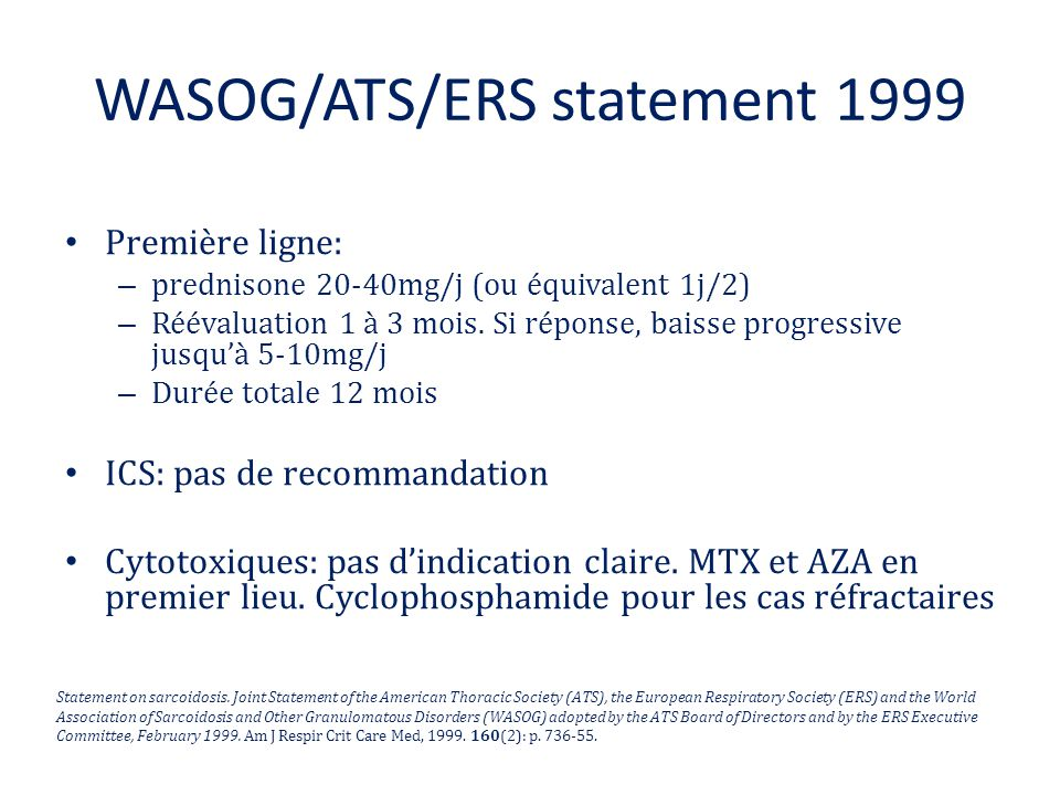 WASOG/ATS/ERS statement 1999