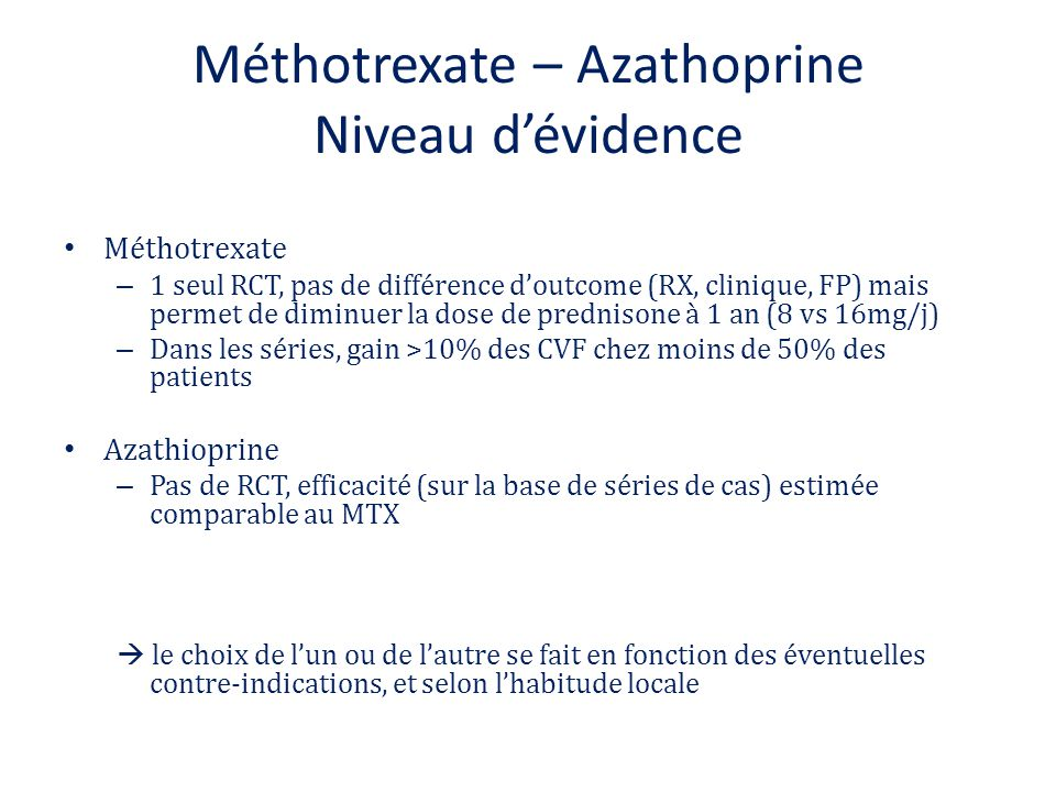 Méthotrexate – Azathoprine Niveau d'évidence