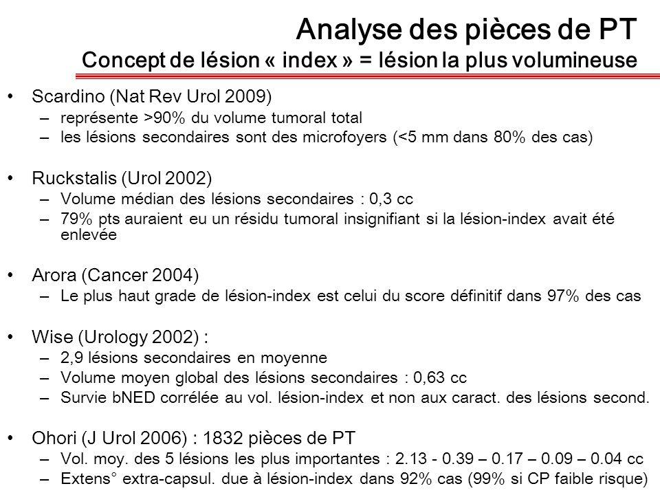 Analyse des pièces de PT Concept de lésion « index » = lésion la plus volumineuse